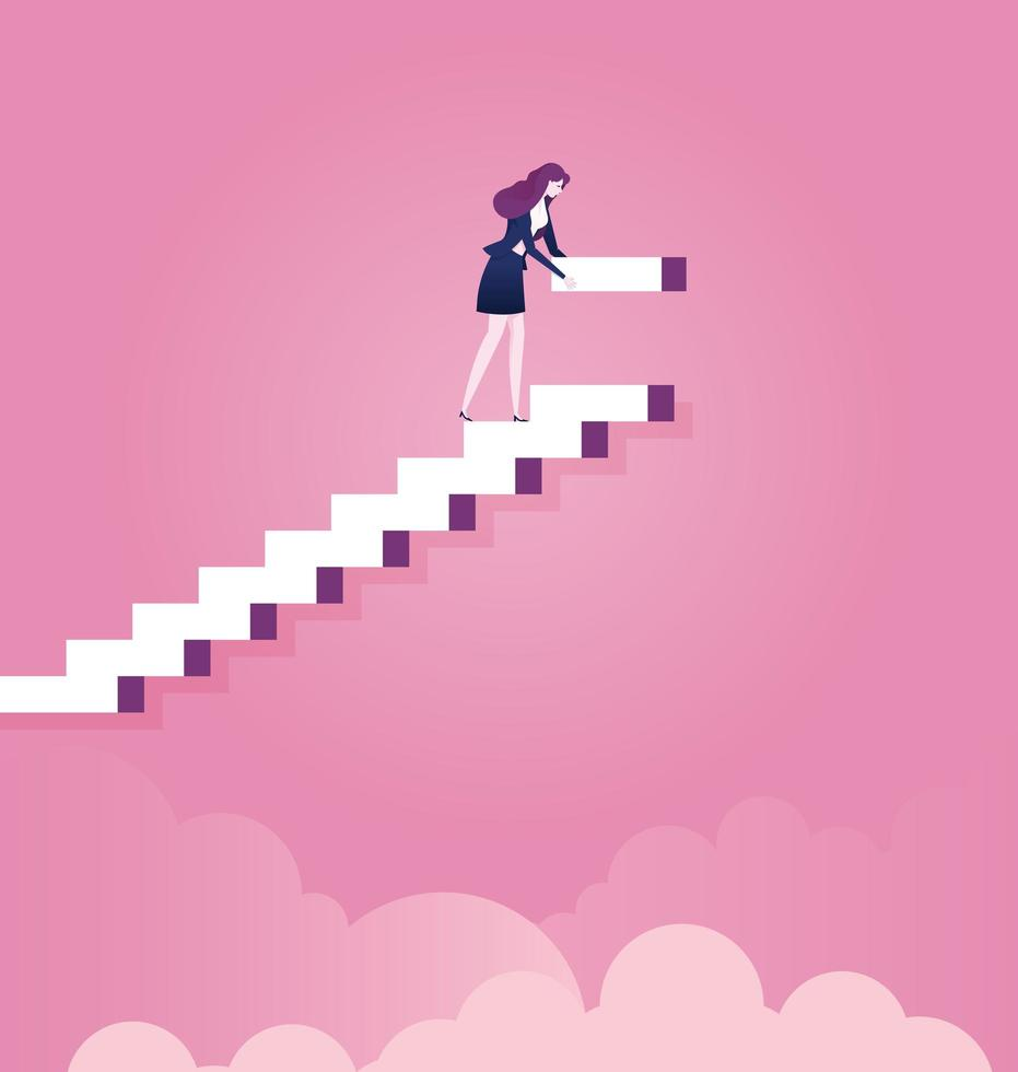 Business woman building steps for career vector