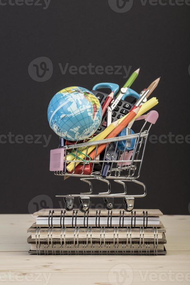 multiple stationery in a shopping cart photo
