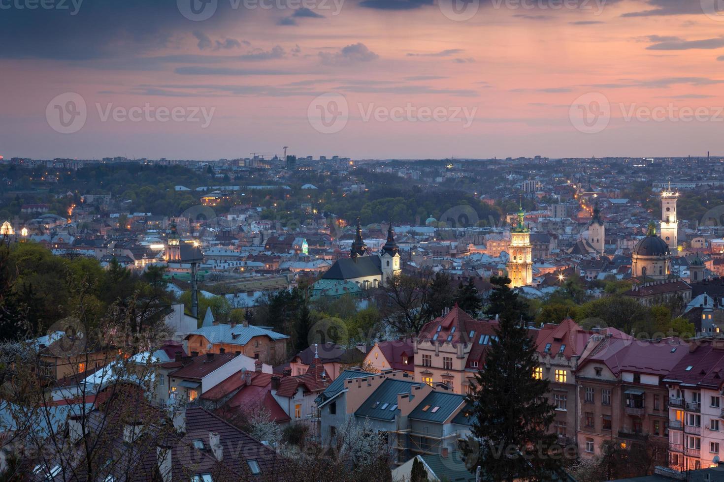 Panoramic Aerial view of old town at sundown. Lviv, Ukraine photo