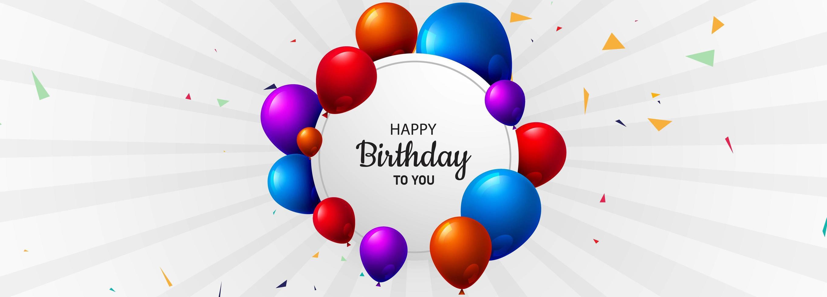 Banner de fondo de cumpleaños con globos de colores vector