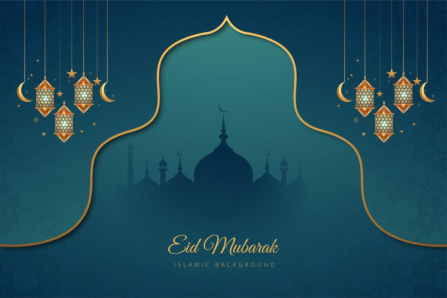 Eid Mubarak Blue and Gold Accent Holiday Background vector