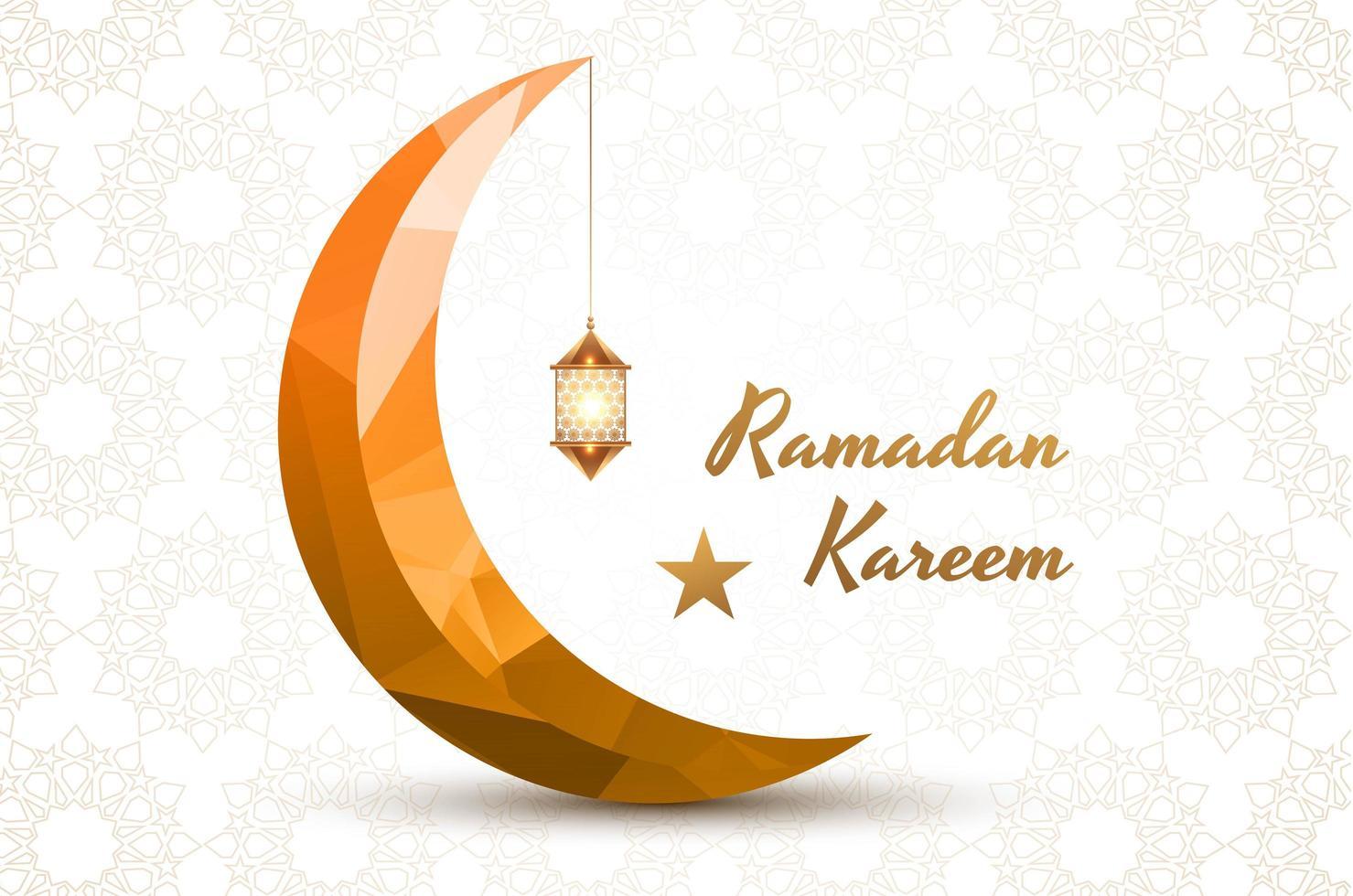 Eid Mubarak Geometric Gold Crescent Moon Background vector