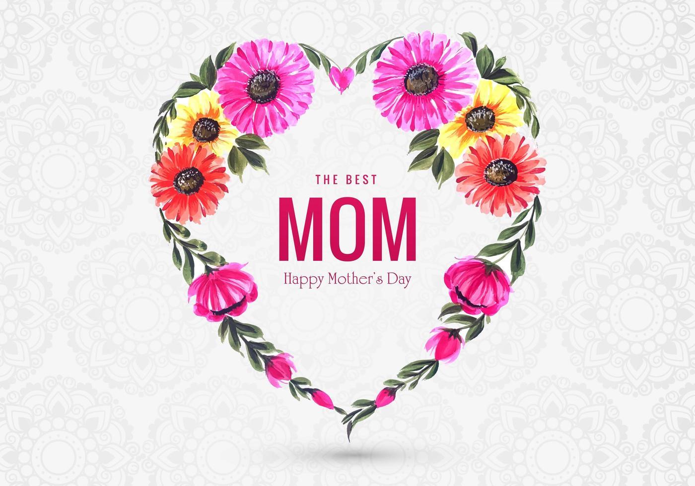 coração floral colorido forma dia das mães saudação vetor
