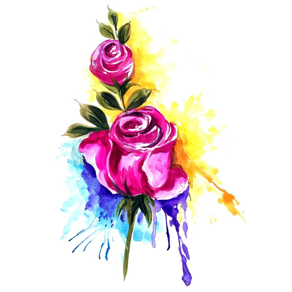 Roses with Colorful Splash Background vector