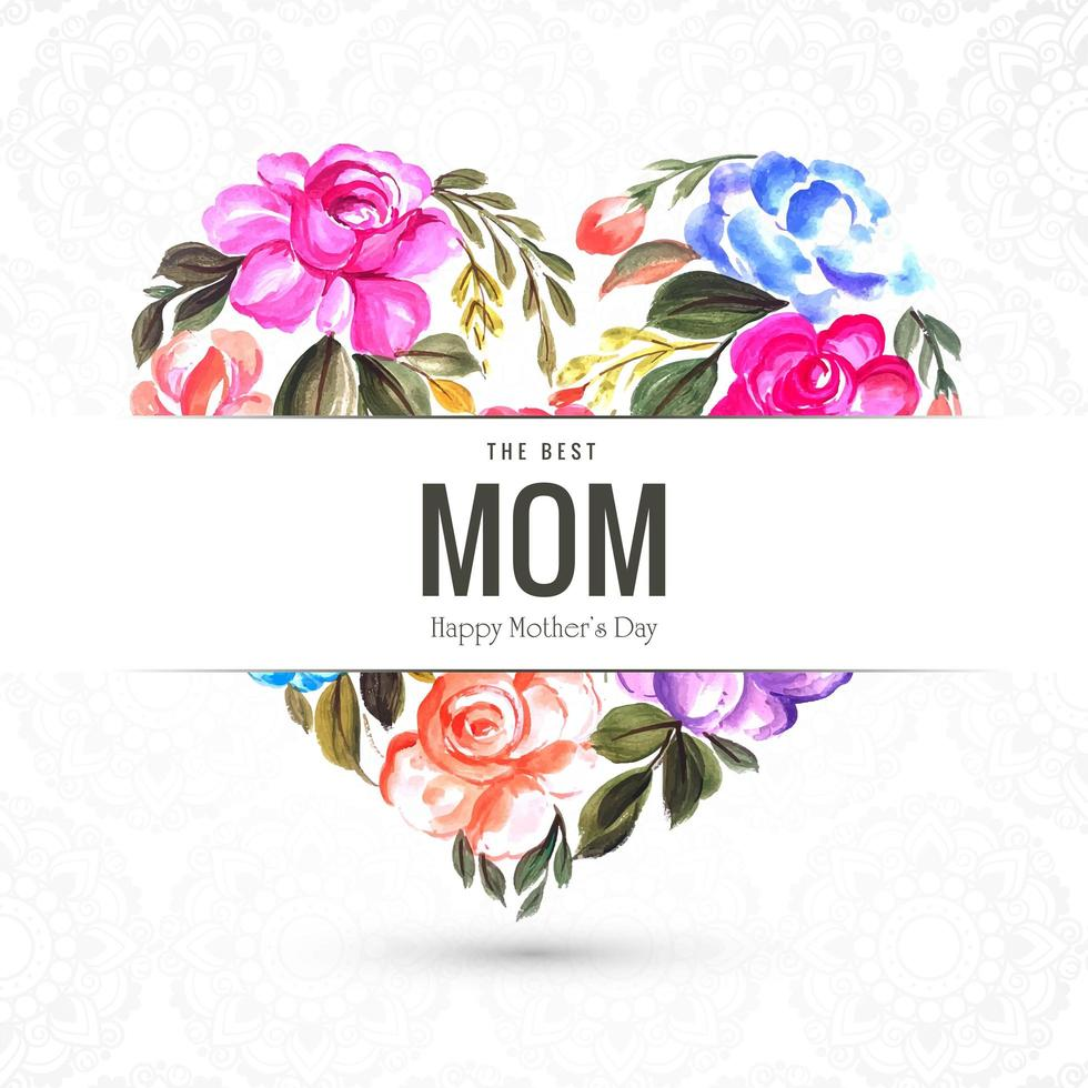 Happy Mother's Day Floral Heart Greeting Card vector