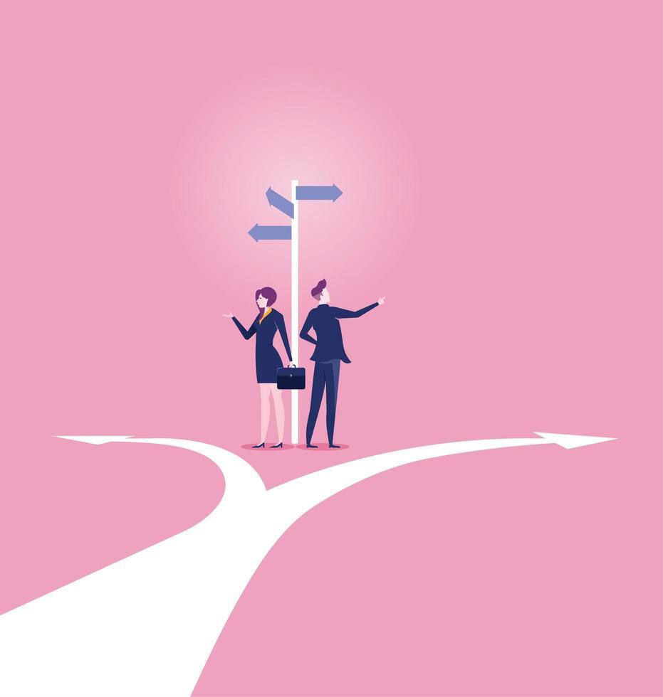 hombre y mujer de negocios en la encrucijada vector