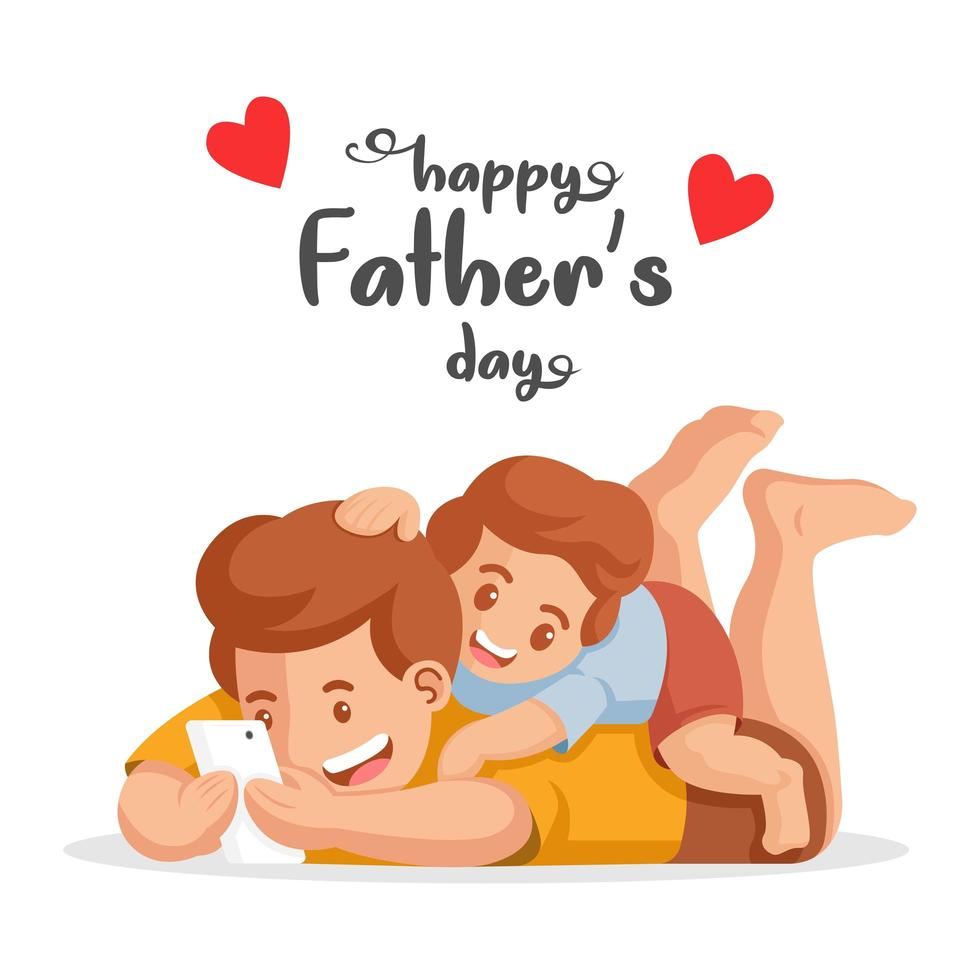 Father and son watching video on phone vector