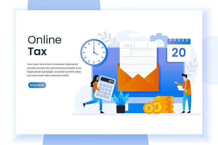 página de inicio de impuestos en línea con formulario en sobre vector