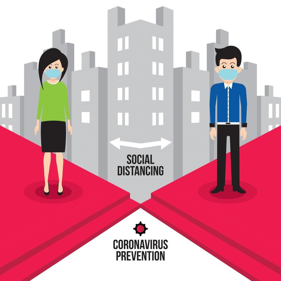 hombre y mujer distanciamiento social en la ciudad vector