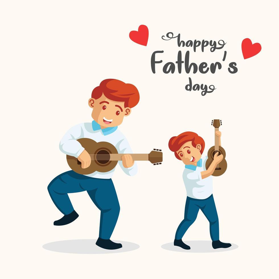 hombre tocando la guitarra con su hijo vector
