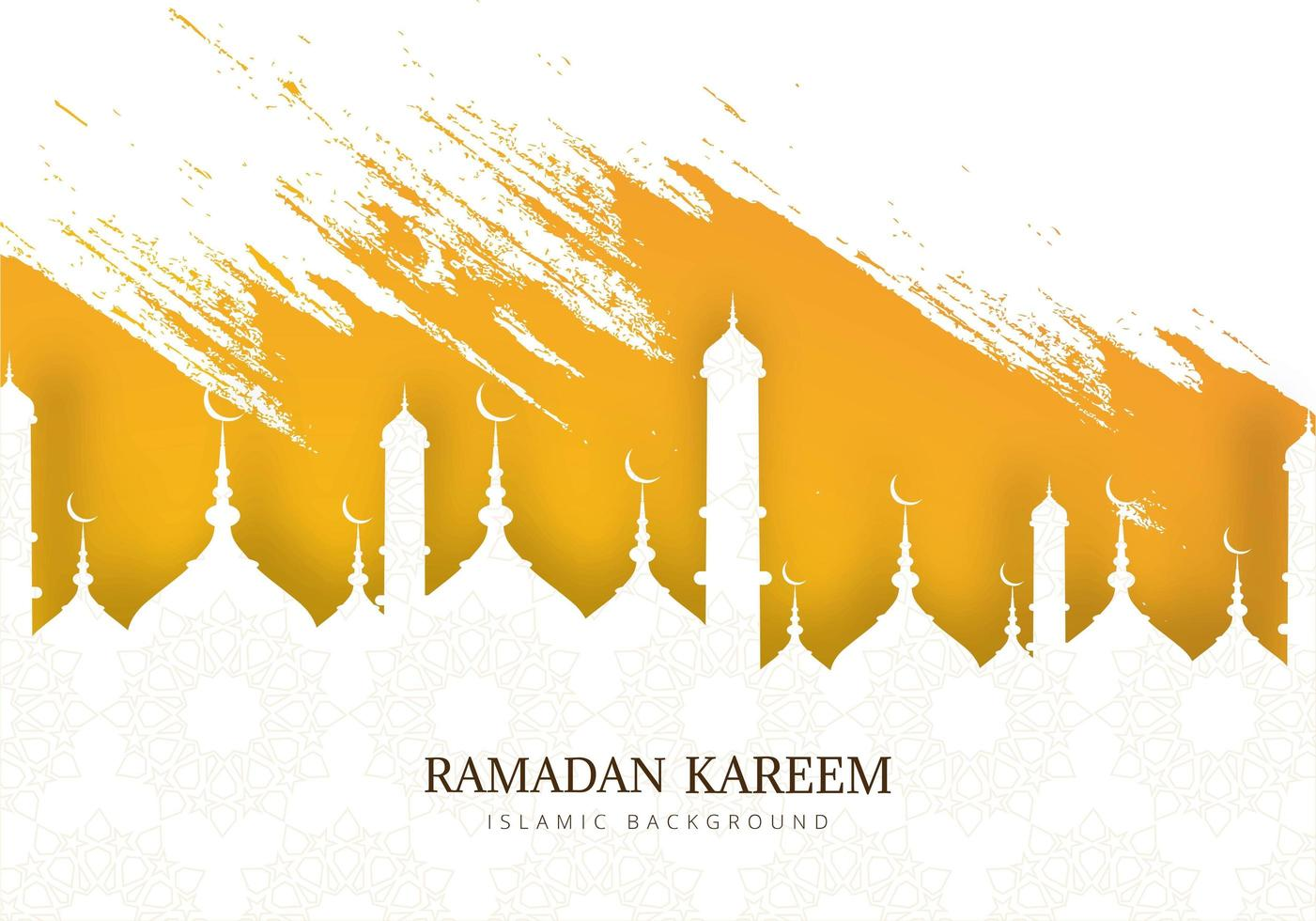silueta de la mezquita de Ramadán Kareem y pinceladas vector