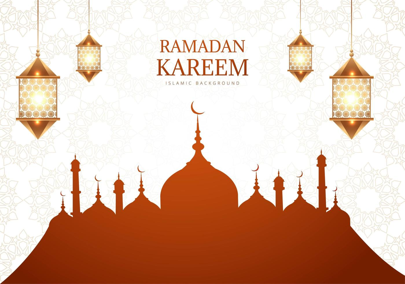 Ramadan Kareem Greeting with Brown Mosque Silhouette  vector