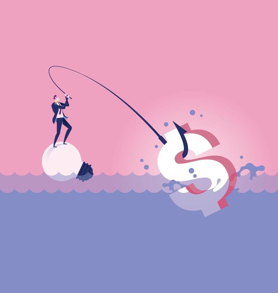 hombre de negocios pescando por signo de dólar vector