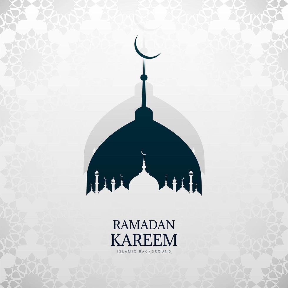 saludo de ramadan kareem de silueta de mezquita azul y blanco vector