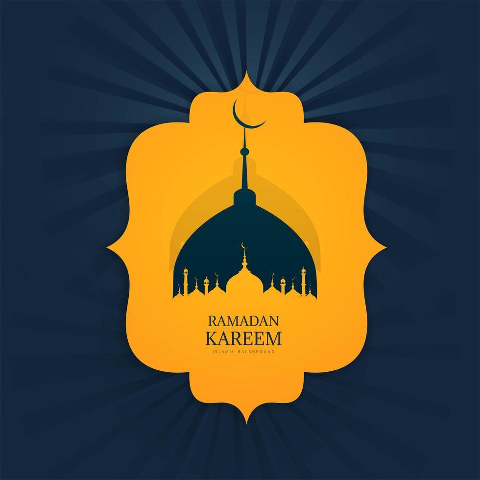 design do Ramadã com silhueta de Mesquita em forma ornamental vetor