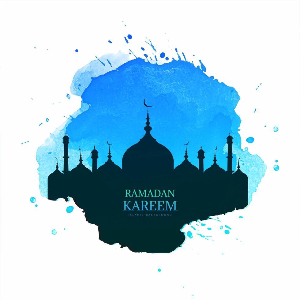 design de ramadan kareem com silhueta de mesquita em splash vetor