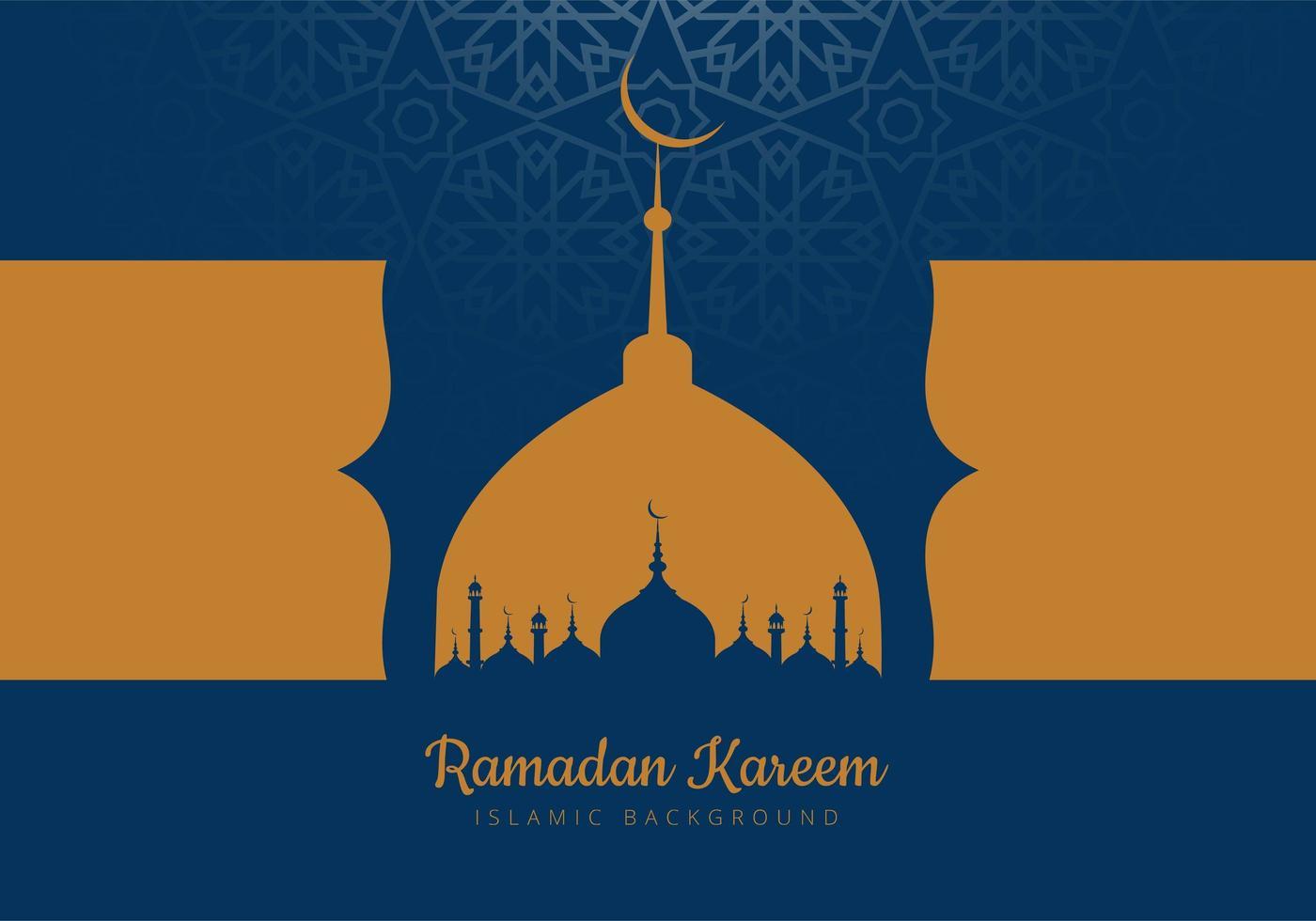 cartão do Ramadã com silhuetas de mesquita azul e ouro vetor