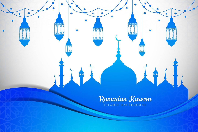 Ramadan Kareem saludo diseño de papel en capas azul vector