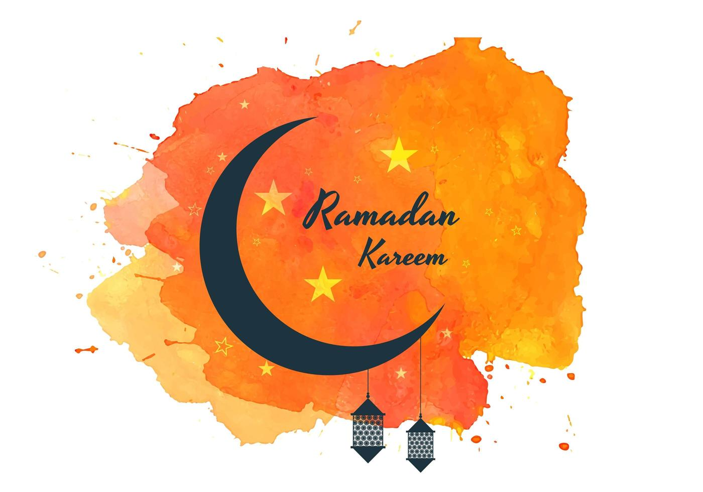 Ramadan Kareem Moon on Orange Watercolor Splash vector