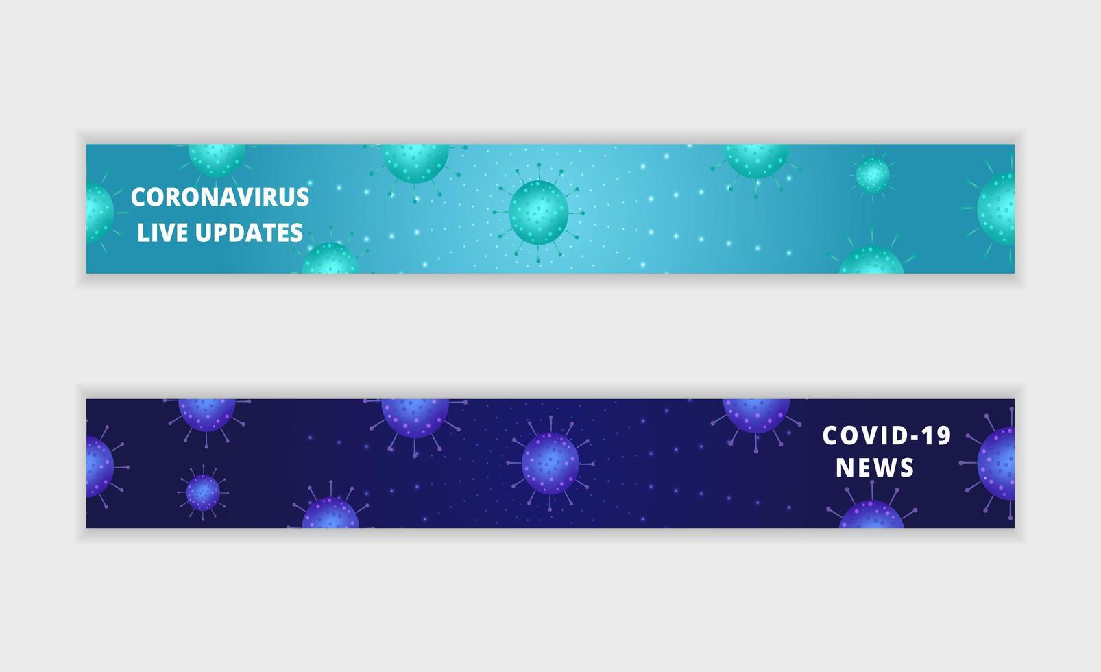 mises à jour de coronavirus et ensemble de bannières de nouvelles vecteur