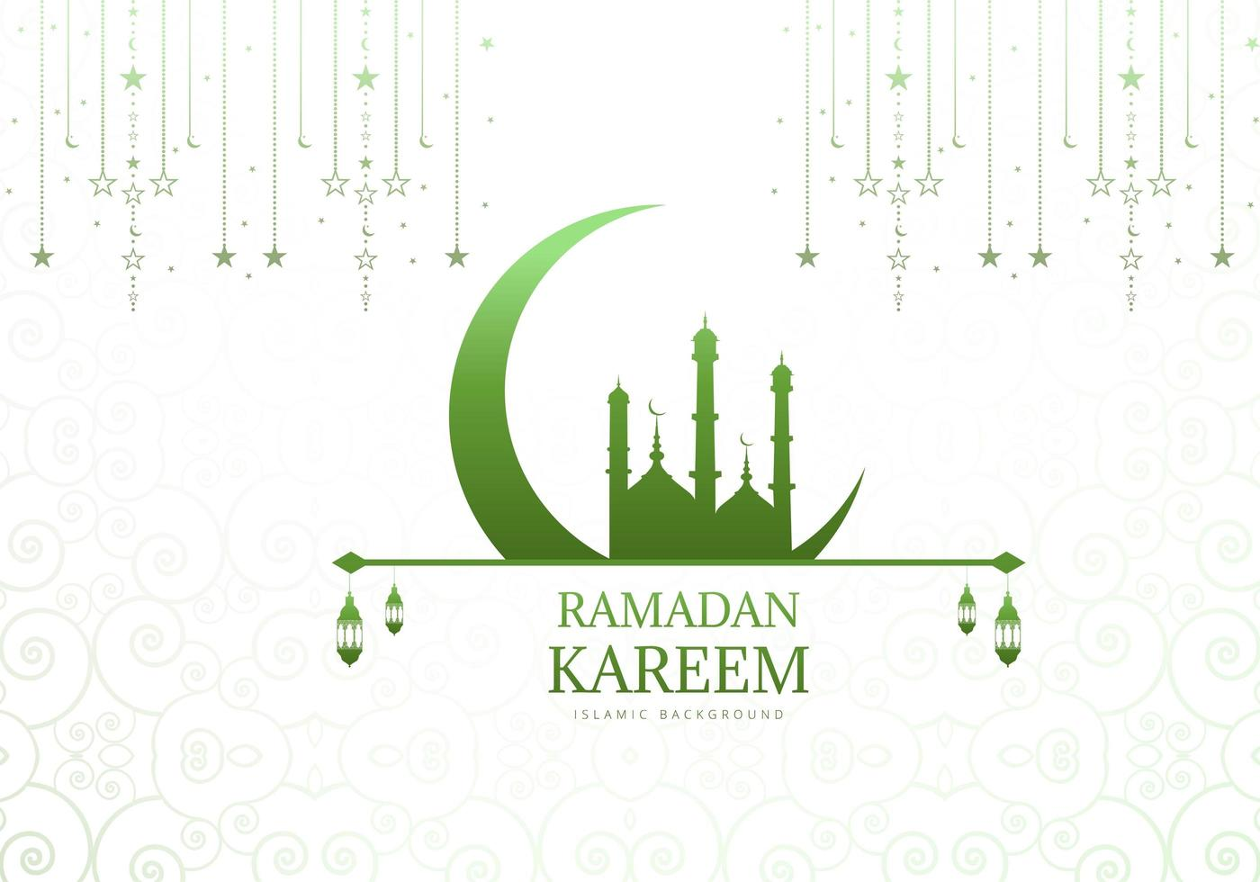Green Mosque and Moon Ramadan Background  vector