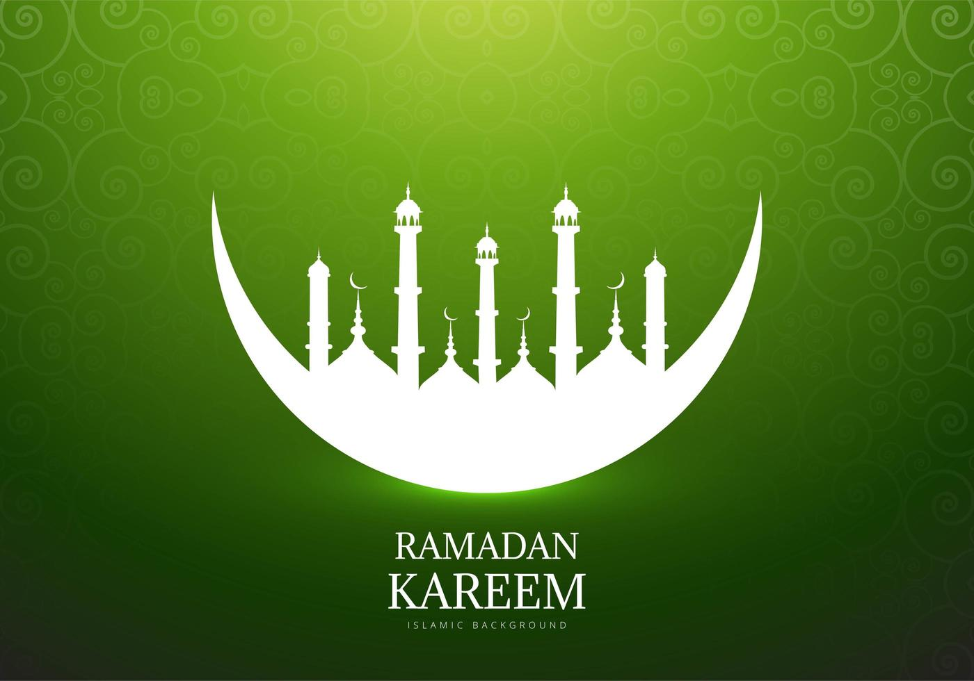 Moon with Mosque Silhouette for Ramadan Kareem  vector