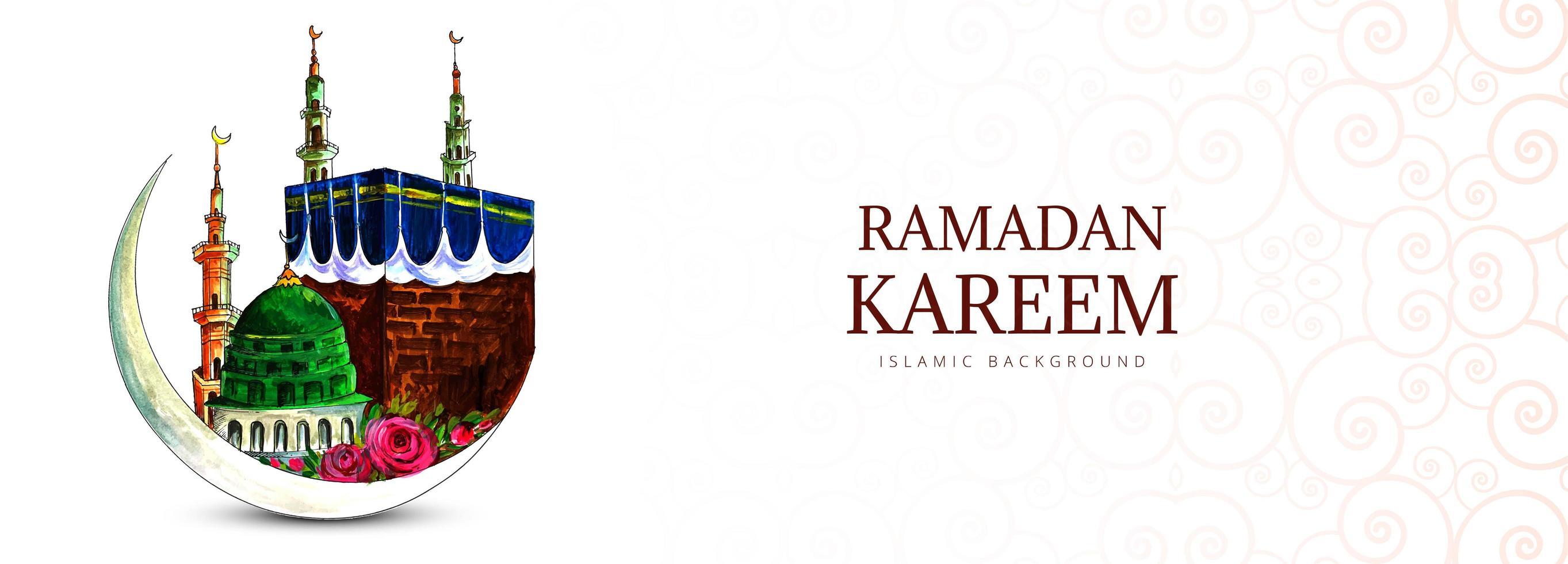 Hand Drawn Mosque Design Ramadan Kareem Banner  vector