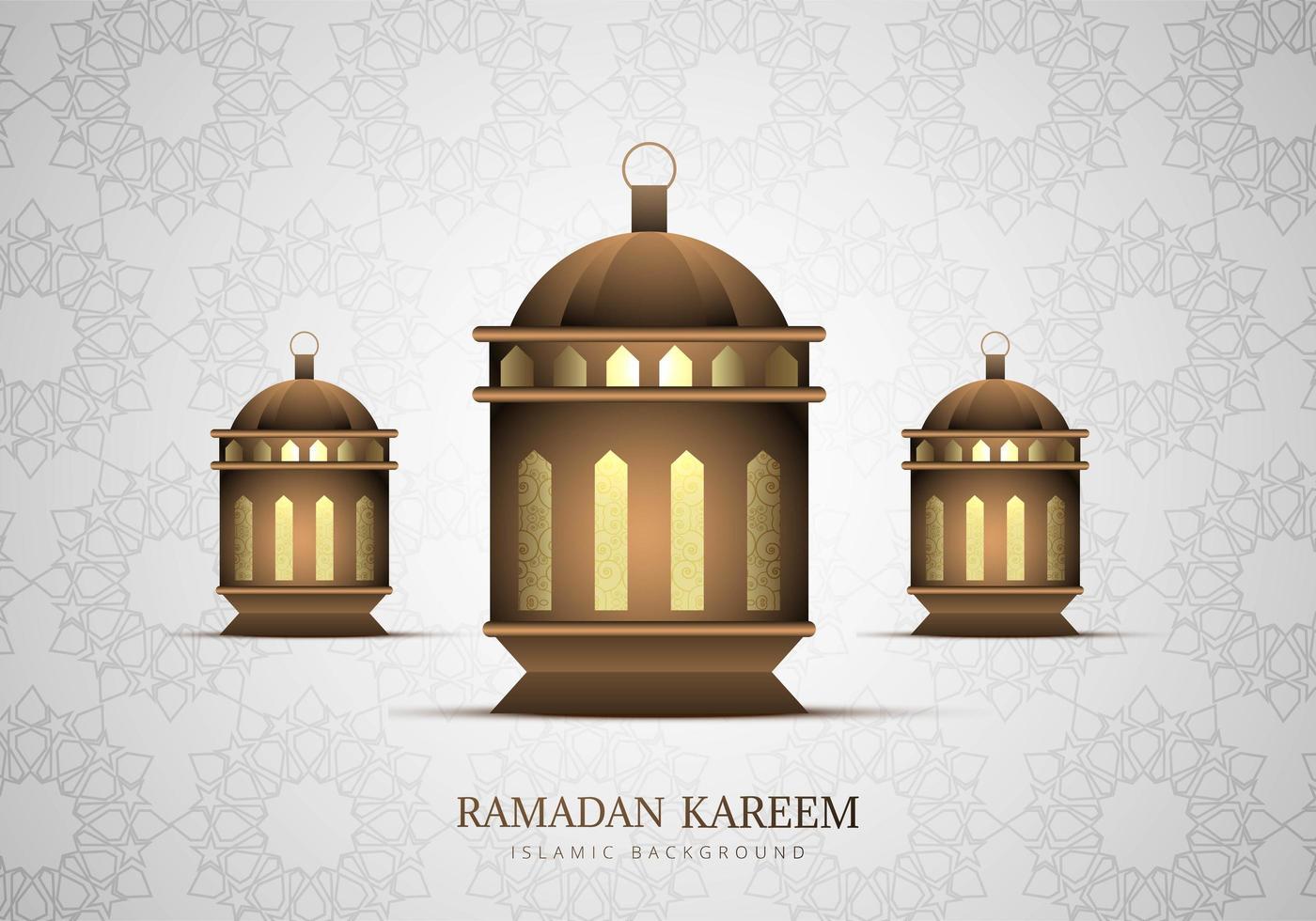 três lanternas de ramadan kareem dourado vetor