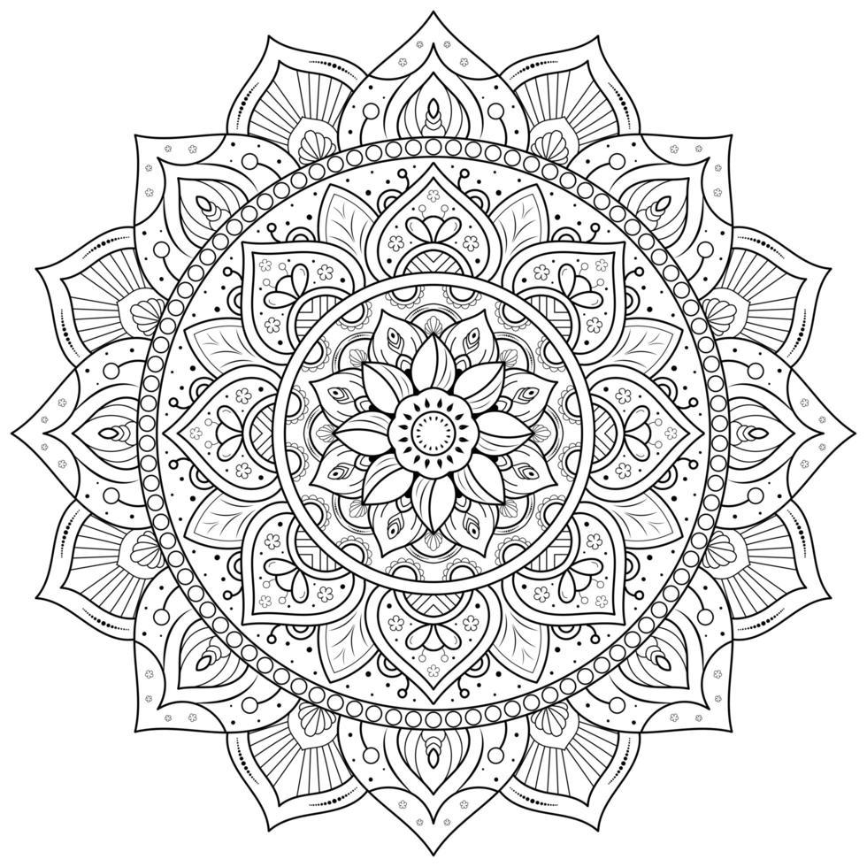 mandala de flores circulares vector