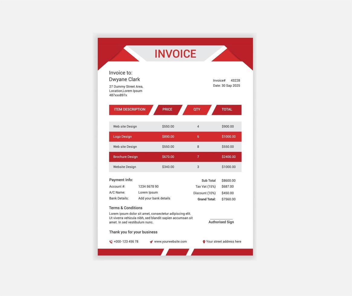 plantilla de factura de diseño de esquina roja folden vector