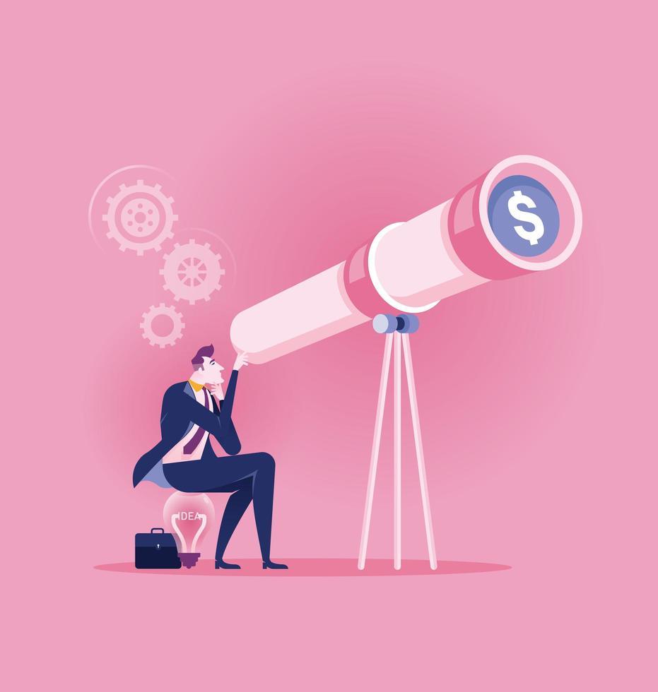 homem de negócios olhando através do telescópio para dinheiro vetor