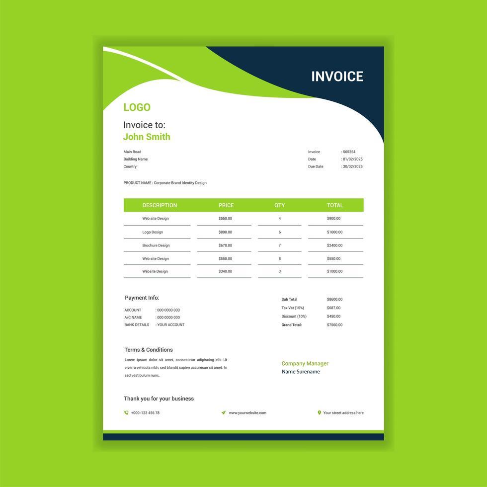 plantilla de factura en forma de ola verde para contabilidad vector