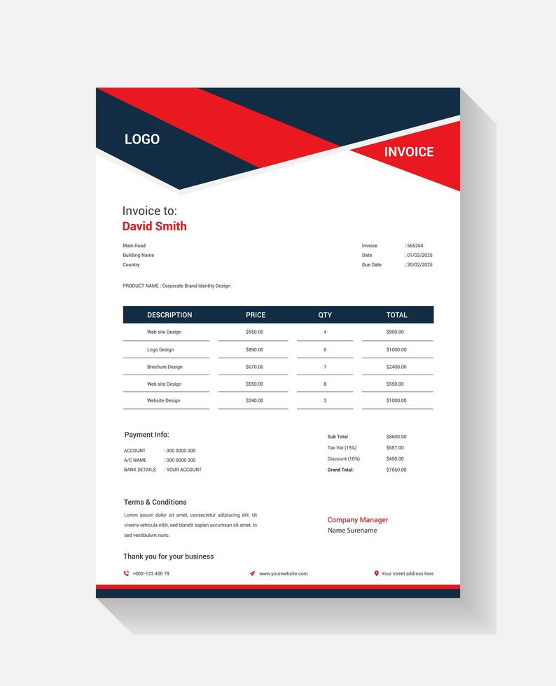 Angled Red and Navy Shape Invoice Billing Template vector