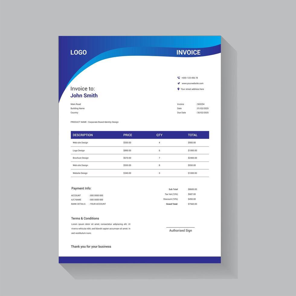 plantilla de factura comercial con diseño dinámico de onda azul vector