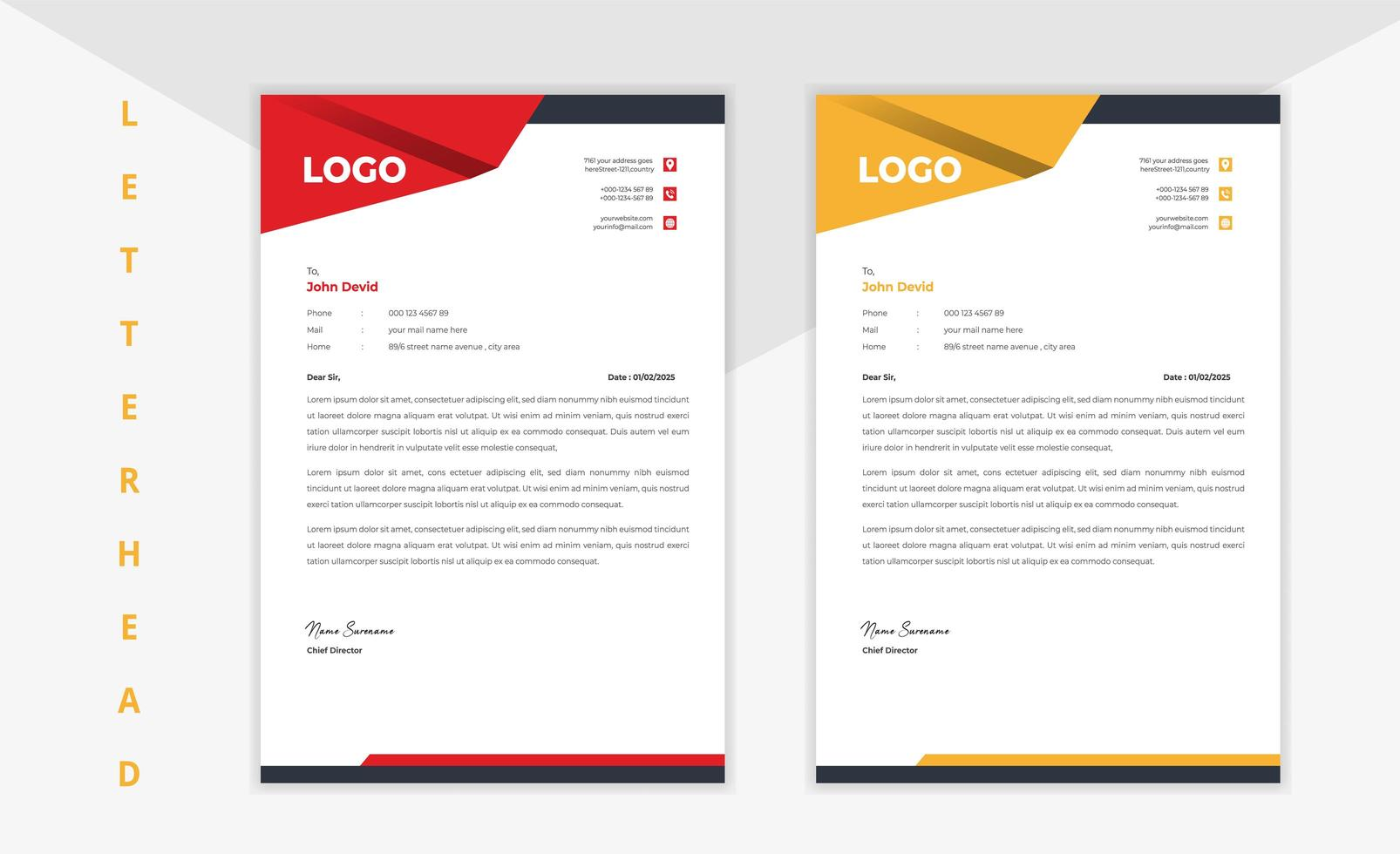 Red and Yellow Abstract Corner Corporate Letterhead Set vector