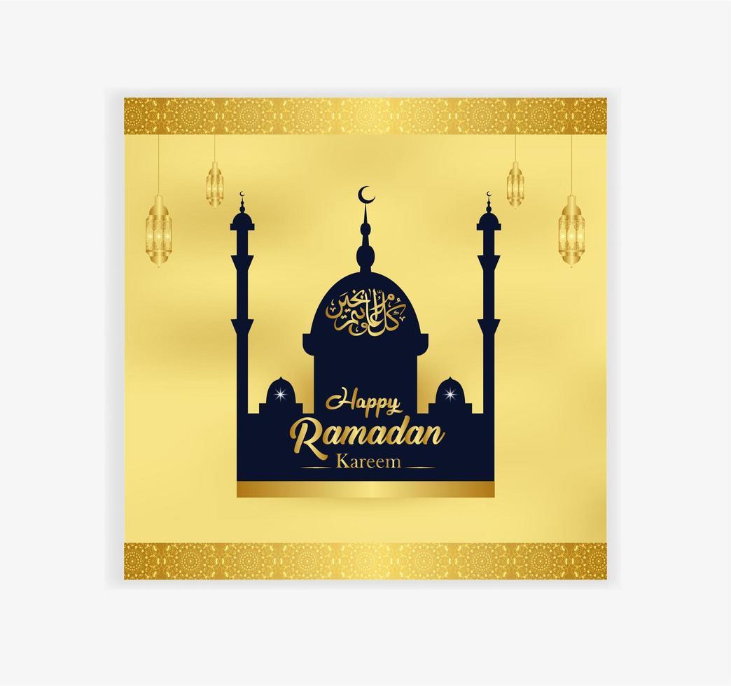 mesquita e lanterna cartão ornamentado dourado do ramadã vetor