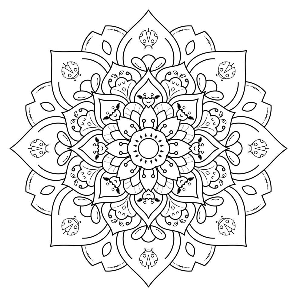 Flower Mandala For Coloring vector