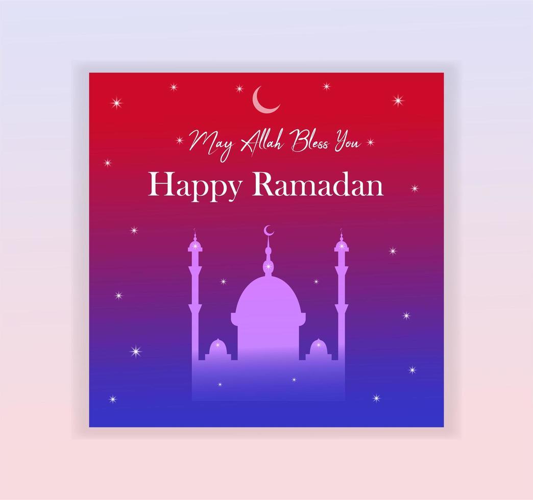 Tarjeta de Ramadán Kareem degradado brillante con silueta de mezquita vector