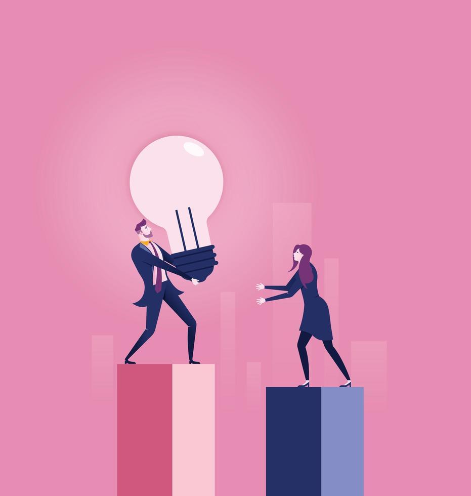 Business man handing light bulb to woman vector
