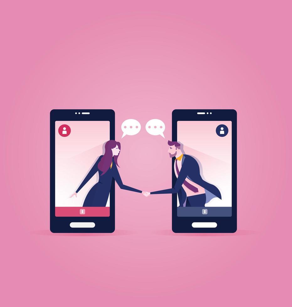 pessoas de negócios em telefones inteligentes, apertando as mãos vetor