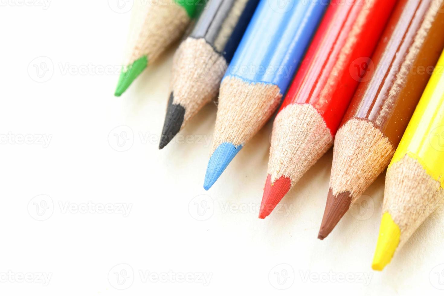 multicolored pencil crayons on a white background photo