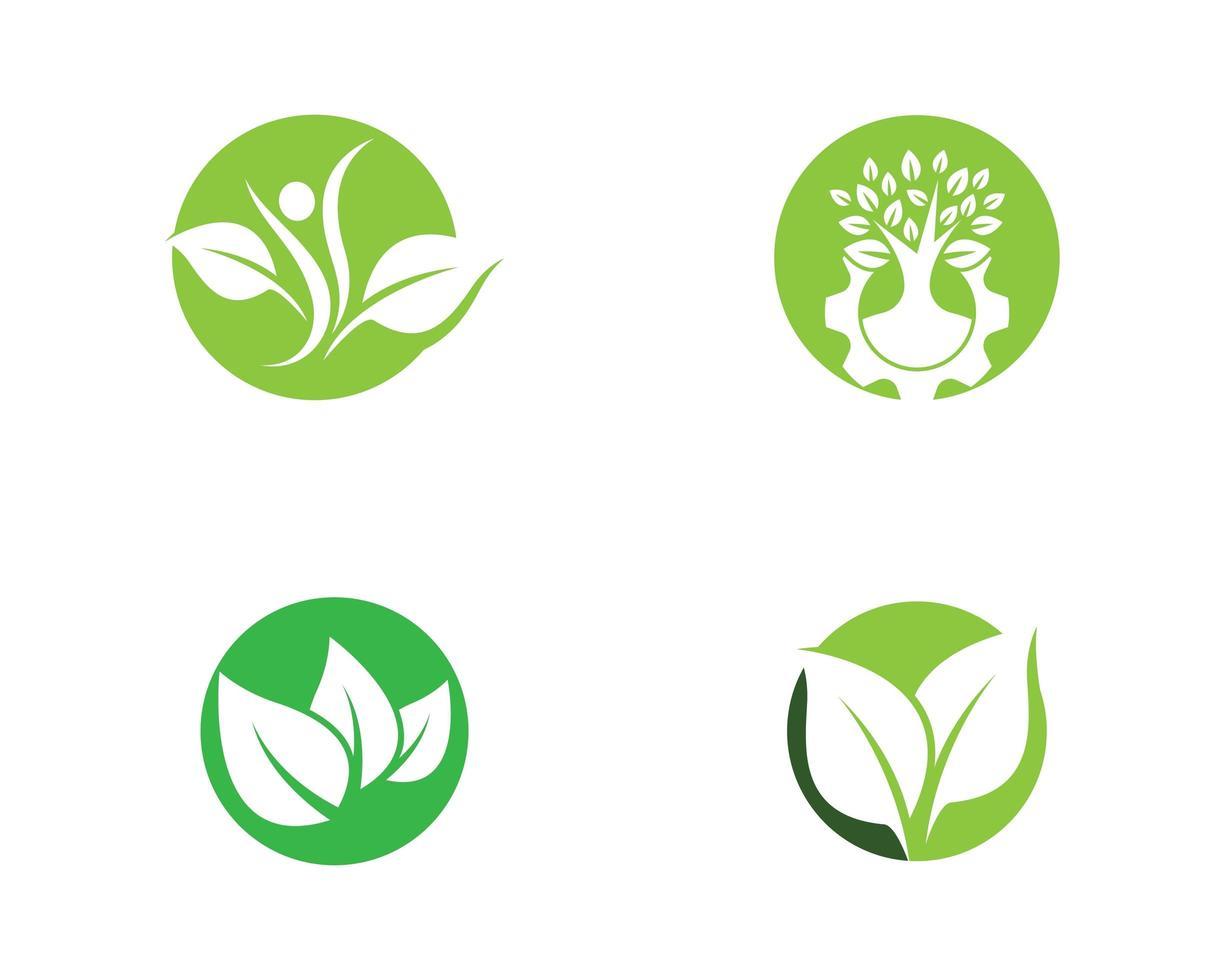 conjunto de logotipos de ecologia verde redondo vetor