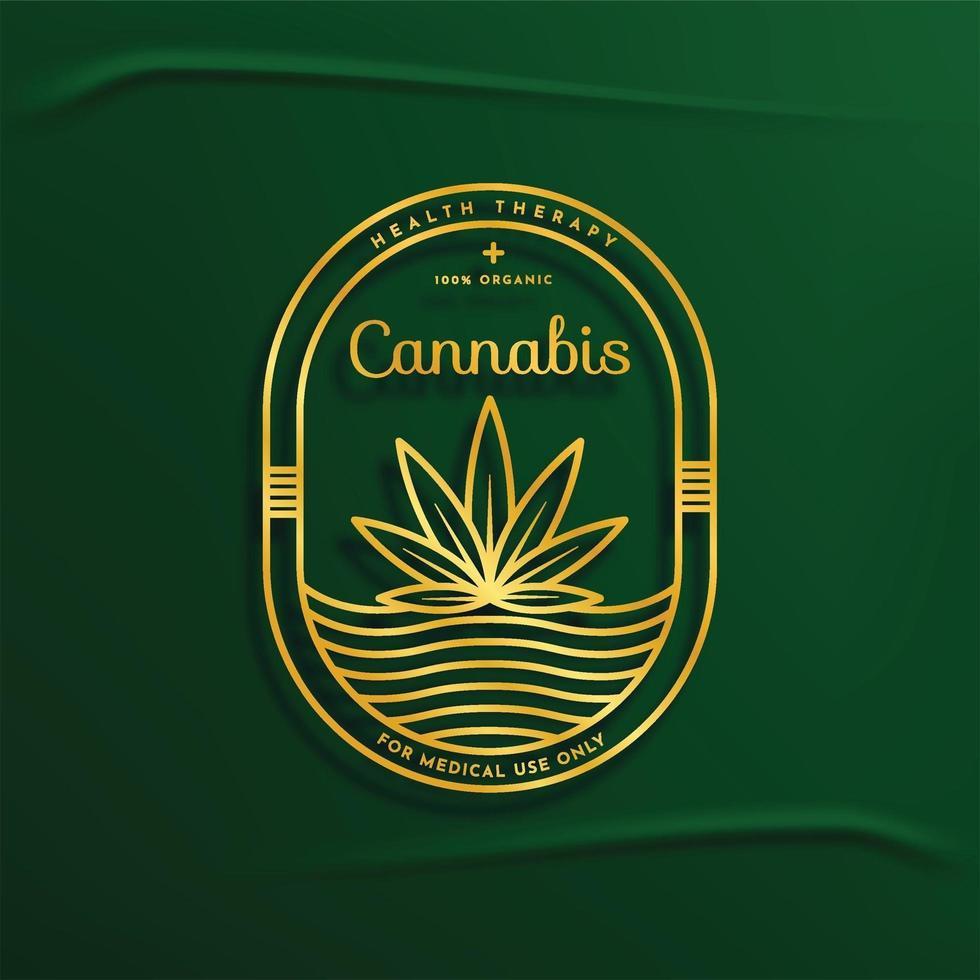 insignia esbozada de cannabis vector