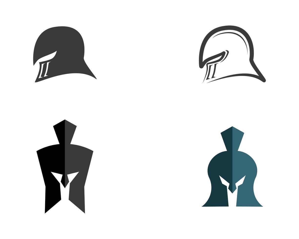 conjunto de logotipo espartano capacete vetor