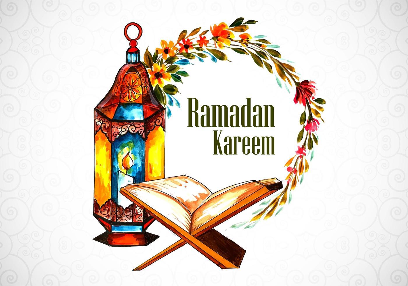 saudação de ramadan pintada à mão decorativa vetor