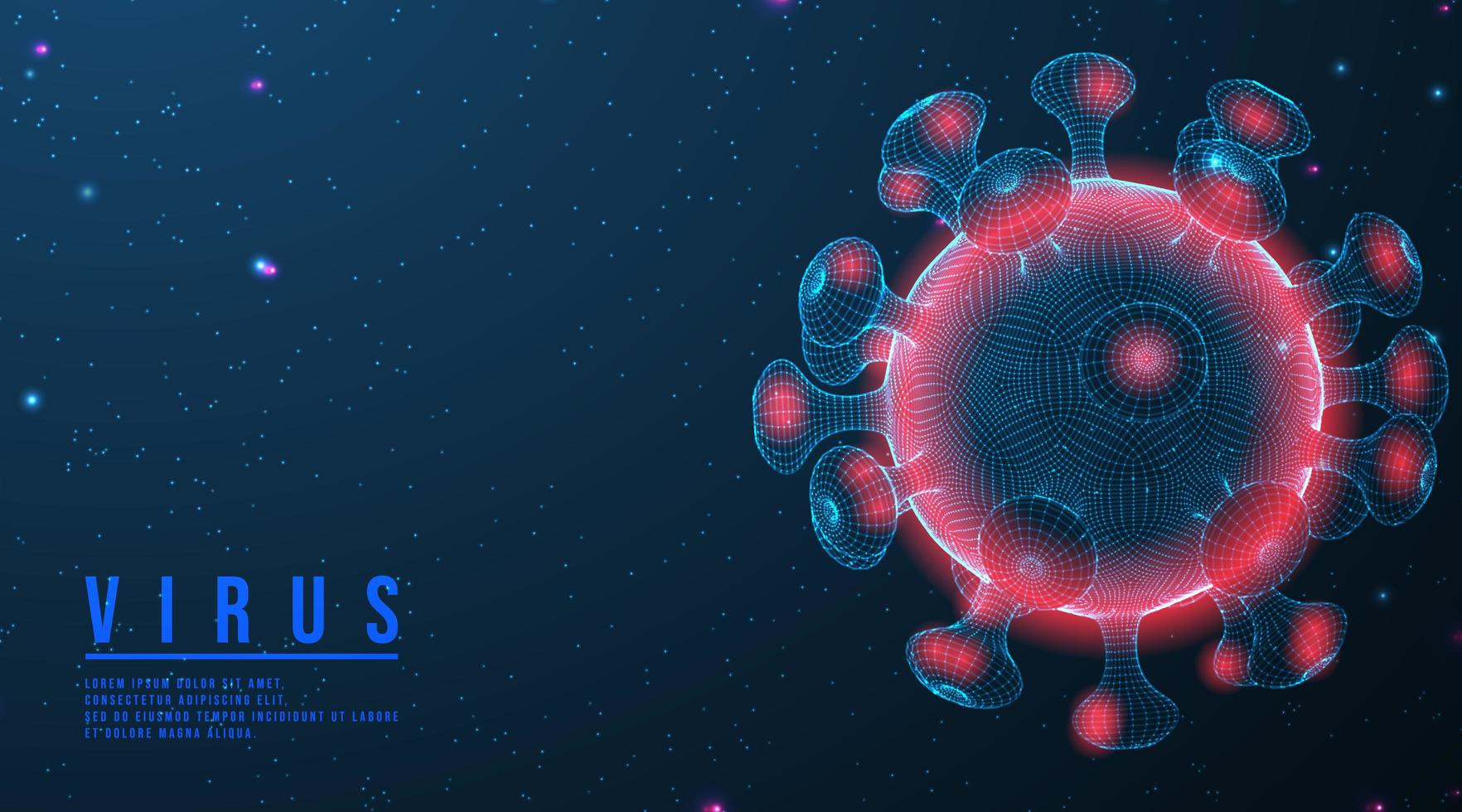 Wireframe COVID-19 Glowing with Pink and Blue vector