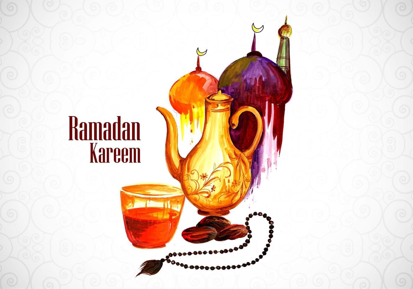 saludo de acuarela de Ramadán Kareem con tetera y cuentas vector