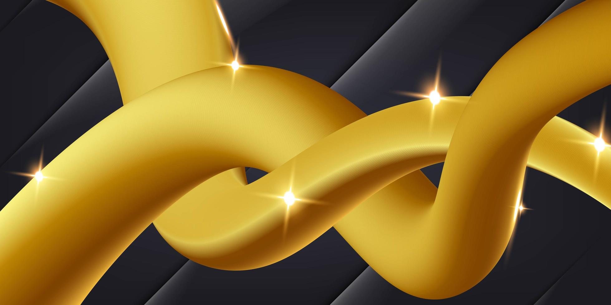 Flowing Gold Lines on Black Background vector