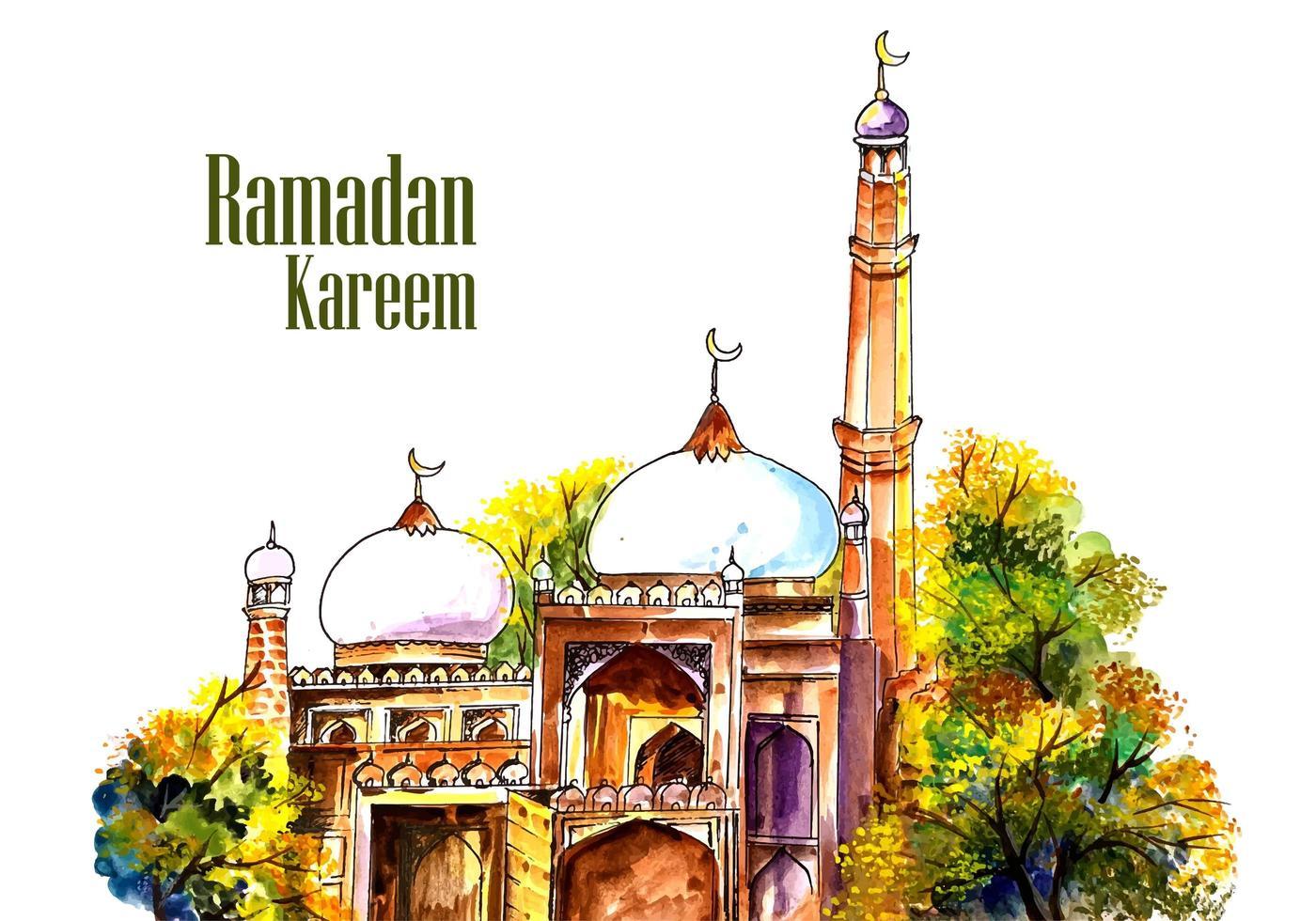 fundo de pintura ramadan bela mesquita vetor