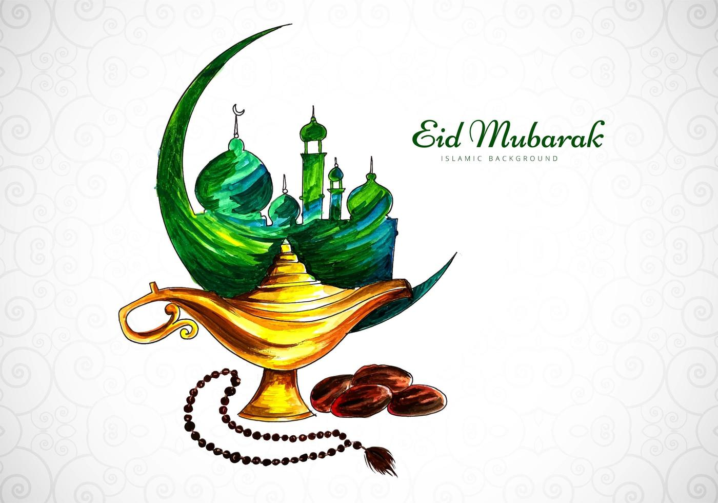 Watercolor Eid Mubarak Greeting Design  vector